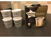 Eight tommee tippee closer to nature breast milk storage pots (x8 pots) NEW
