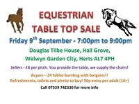 Equestrian table top sale - 7pm to 9pm