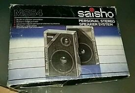 Vintage personal stereo speaker system Saischo MS54 with original packaging