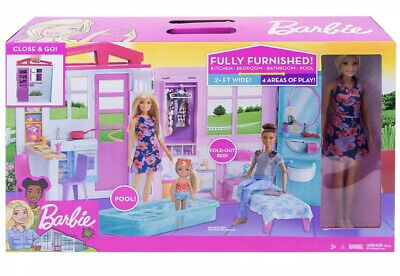 Barbie Doll and Dollhouse, Portable 1-Story Playset with Pool- Carrying Handle !