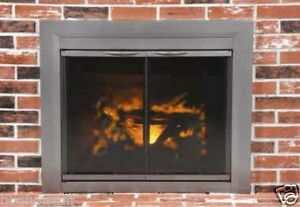 Pleasant Hearth Glass Fireplace Door Craton Gun Metal