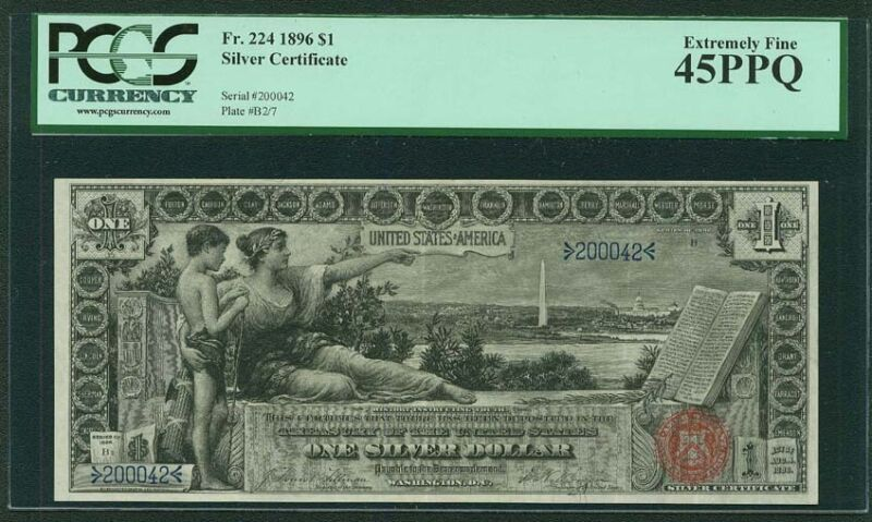 """1896 $1 """"EDUCATIONAL"""" SILVER CERTIFICATE BANKNOTE FR-224 CERTIFIED PCGS XF45-PPQ"""