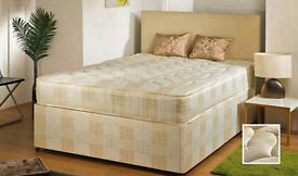 WHITE DOUBLE DEEP QUILTED DIVAN BED BASE & MATTRESS £89 AVAILABLE IN OTHER SIZES SINGLE & KINGSIZE