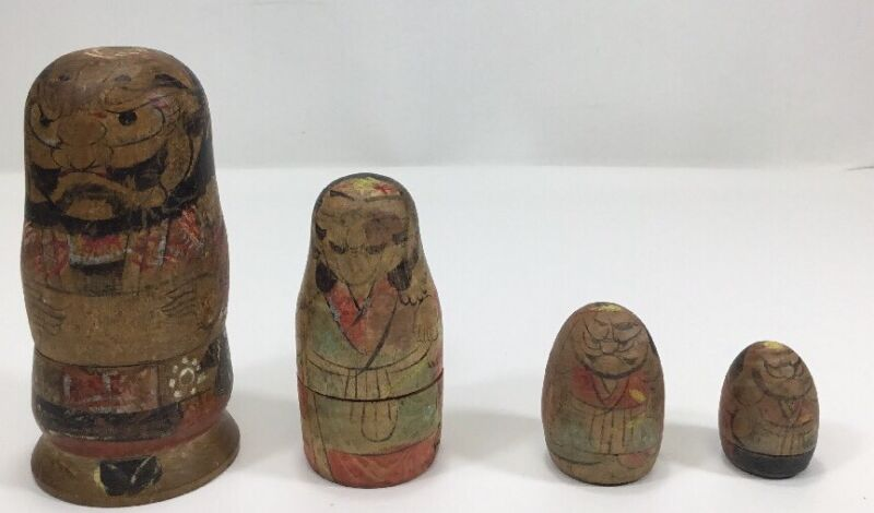 Antique Japanese Samurai Nesting Dolls Set Of 4 Dolls