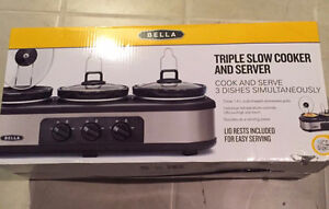 Bella Triple Slow Cooker with Lid Rests- Brand New In Box Windsor Region Ontario image 2