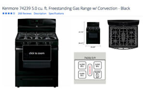 "Kenmore 30"" Gas Convection Range, never used"