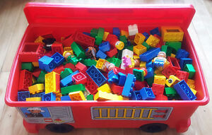 HUGE 10 lbs LOT OF LEGO DUPLO BLOCKS FIGURINES & FIRE TRUCK BIN