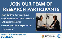Participants needed for contact lens research at UW! Get $20/hr.