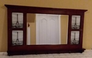 Entryway Mirror With Hooks, Shelf and 4 Pictures.