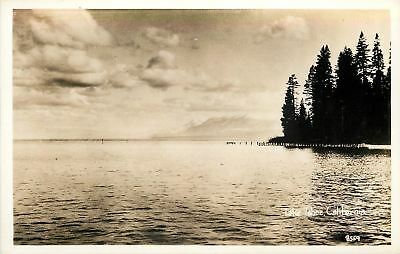 Lake Tahoe California~Freshwater Lake~Mountain Peaks~Dock~1920s Real Photo~RPPC