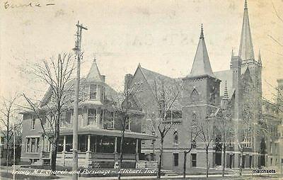 C 1910 Elkhart Indiana Trinity Me Church Parsonage Postcard 6451