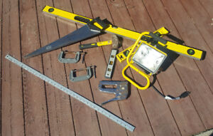 Lot of Tools - Levels, Saw, Staple Gun, Sledge Hammer, Vices..