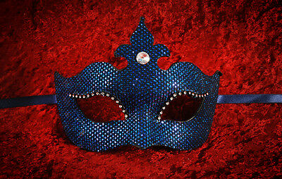 Mask from Venice Colombine a Tip Sofia Blue Effects Pedal and Rhinestones 1012