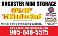Ancaster mini storage 50% first month of storage
