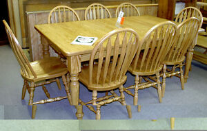 Solid Oak Harvest Table and 6 Chairs Mennonite made