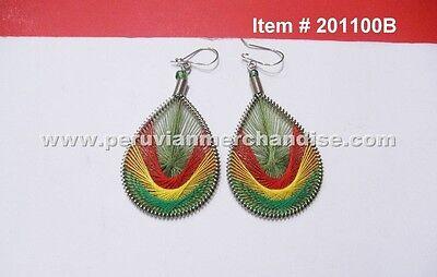 6 pairs of handmade Peruvian Thread Earring Rastafarian colors Small Tear Drop