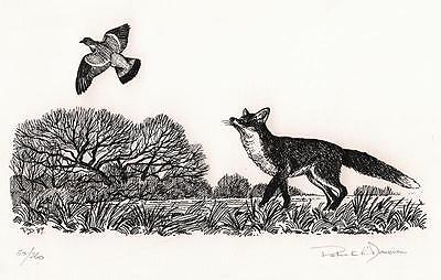 PATRICK DONOVAN Signed Print FOX & PIGEON IN LANDSCAPE 1989