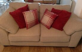 Sofa suite Checked cream fabric DFS nearly new with receipt RRP £1500