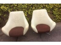 Pair of Mid Century Rare Vintage Egg Style Leatherette Swivel Chairs