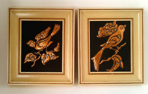 Pr of Vtg 1950's MCM 3-D Copper Birds Relief Framed Wall Decor