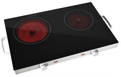 Glaskeramik Doppelkochfeld mit Infrarotwärme Kochplatte Ceran 2800 W NEU*42171