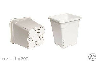 "HydroFarm 5"" 6"" 7"" 9"" 12"" White Square Pots Variation LIST / ALL SIZES AVAILABLE"