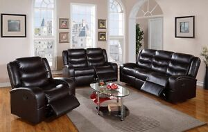 brand new 3 piece reclining set,save $1000,Couch + Love + Chair Peterborough Peterborough Area image 1