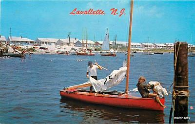 1930s Boating Lauallette New Jersey Parlin postcard 7950