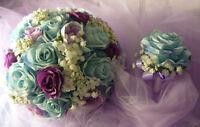 Beautiful Light Blue & Purple Shades Wedding Bouquet Flower Set.