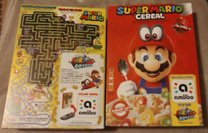 Super Mario Cereal 8.4oz Box with Amiibo tag