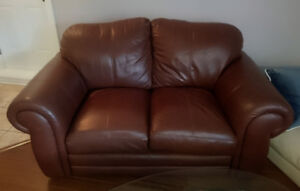 Leather love seat & chair - Rusty brown / Causeuse & chaise cuir