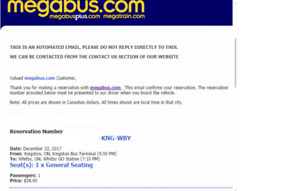 MEGABUS TICKET FOR DEC. 22 - NEW PRICE & LOWEST FOR THAT DAY