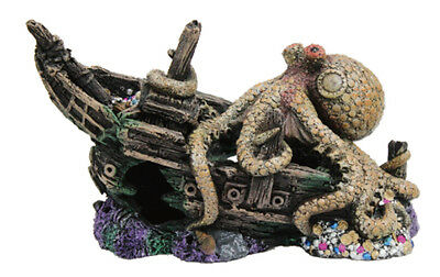 Sunken Pirate Ship w/ Giant Octopus Fish Tank Ornament, Aquarium Decoration.