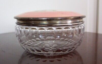 Cut Glass Powder Jar with Foster & Bailey Sterling & Enamel Cover with Roses