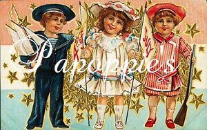 Vintage-4th-of-July-Fabric-Block-Postcard-Image-on-Fabric-Stars-Sailor-Patriotic