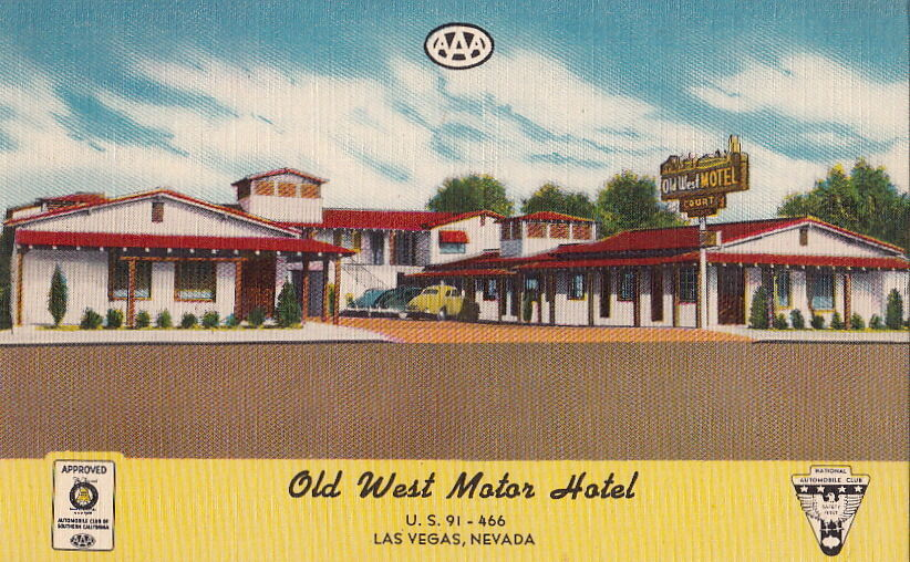 Postcard old west motor hotel las vegas nevada nv for Ebay motors las vegas
