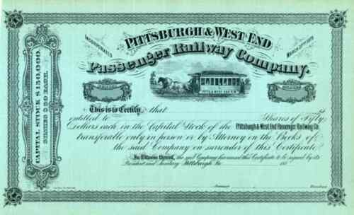188_ Pittsburgh & West End Passenger RR Stock Certificate