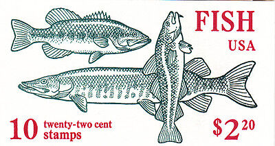 U.S. BOOKLET OF 10 SCOTT #BK154 1986 22ct FISH  MINT  P#11111 OR #22222 AT FACE