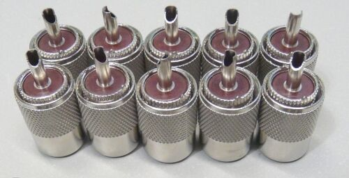 NEW 10 Pack PL-259 solder connector plugs for RG8 LMR400 antenna coax cable