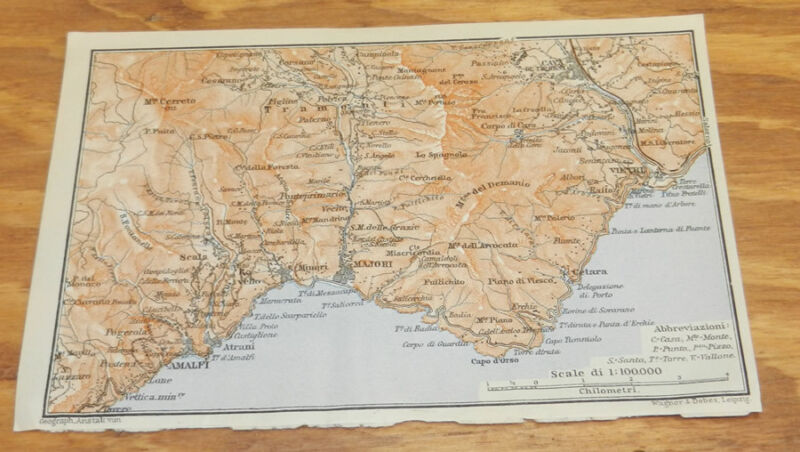1909 Antique COLOR Map of MAJORI & CAPE D'ORSO Area, ITALY