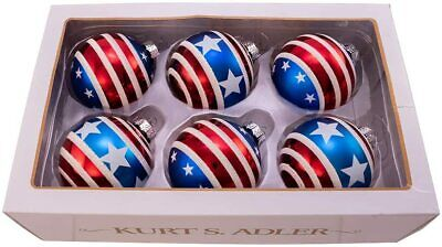"""Kurt S. Adler Red, White and Blue Stars and Stripes Glass Ball, 3"""" (Pack of 6)"""