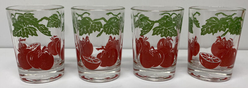 Vintage Federal Glass 4 oz Tomato Juice Glasses- Red & Green Vine Leaf Set of 4