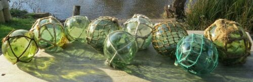 "Japanese Glass Fishing Floats 3-3.5"" (9) Varied Greens All Netted Antiques!"
