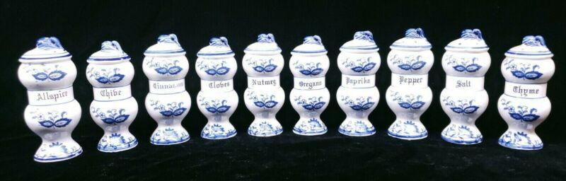 Vintage BLUE ONION Blue Danube Spice Shakers Anart Japan - Lot of 10