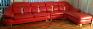 RED LEATHER LOUNGE EXCELENT CONDITION 2 YEARS OLD SOFA COUCH 3.9m Ellenbrook Swan Area Preview