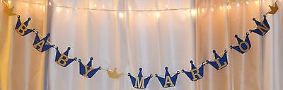 its a boy baby shower prince/crowns royal blue/gold custom name hanging banner