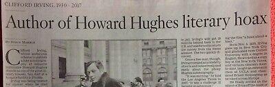 CLIFFORD IRVING 1930 - 2017 OBITUARY AUTHOR HOWARD HUGHES LITERARY HOAX