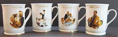 """4 Norman Rockwell Mug 4 Freedoms Speech Worship from Want from Fear 4 3/4"""" Hght."""
