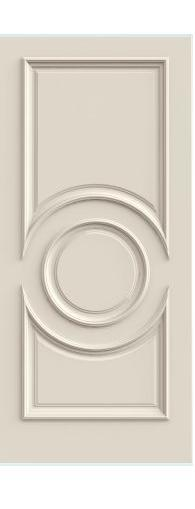 TRIA 3 Panel Center Oval Primed Solid Core Doors W/ Raised Moulding Model# R3340