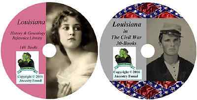 170 old books - LOUISIANA  - History Genealogy Civil War Collection - DVD CD LA